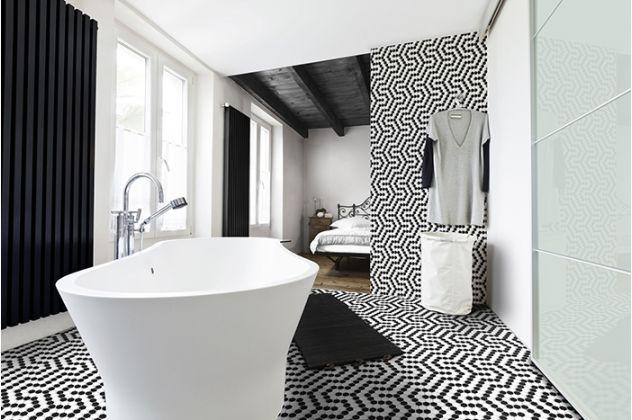 Mozaika Heksagon mały biało-czarny DUNIN