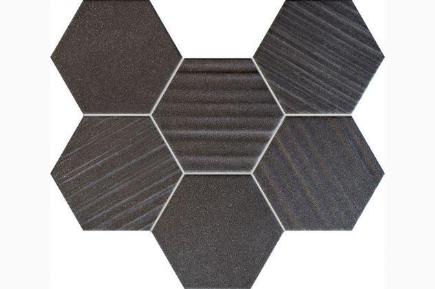 Mozaika Horizon hex black 28,9x22,1 Tubądzin