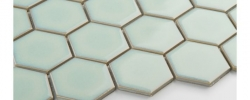 Mozaika Heksagon duży, light moss, szkliwiony Raw Decor